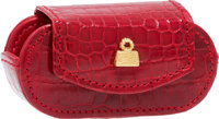 "Judith Leiber Red Crocodile Contact Lens Case Pristine Condition 2.75"" Width x 1.5"" Height x 1"" D"