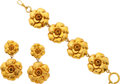 """Luxury Accessories:Accessories, Chanel Gold Camellia Earrings and Bracelet. Very Good Condition. Bracelet: 8"""" Length x 1.25"""" Width, Earrings: 2.5"""" Len... (Total: 2 )"""
