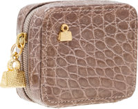 "Judith Leiber Taupe Crocodile Contact Lens Case Pristine Condition 2.5"" Width x 2.25"" Height x 1"