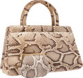 "Luxury Accessories:Bags, Judith Leiber Natural Python Tote Bag. Very Good to ExcellentCondition. 13"" Width x 8"" Height x 6"" Depth.CITES..."