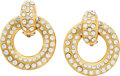 """Luxury Accessories:Accessories, Chanel Gold & Crystal Hoop Earrings. Very GoodCondition. 2"""" Length x 1.75"""" Width. ... (Total: 2 Items)"""