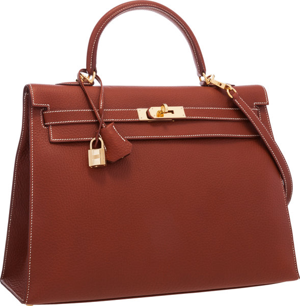 a9f11d637a9 Hermes 35cm Etrusque Ardennes Leather Sellier Kelly Bag with