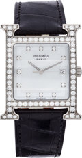 "Luxury Accessories:Accessories, Hermes Diamond & Stainless Steel H Hour GM Watch with ShinyBlack Alligator Band. Very Good to Excellent Condition.9""..."