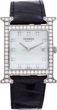Hermes Diamond & Stainless Steel H Hour GM Watch with Shiny Black Alligator Band Very Good to Excellent Conditi