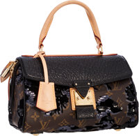 74ebaf7c6d2f Louis Vuitton Limited Edition Monogram Fleur de Jais  amp  Black Leather  Carrousel Bag Excellent Condition