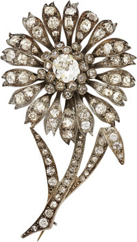 Antique Diamond, Silver-Topped Gold Brooch