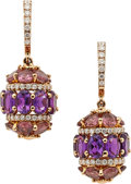 Estate Jewelry:Earrings, Amethyst, Tourmaline, Diamond, Pink Gold Earrings. ...
