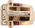Estate Jewelry:Rings, Retro Diamond, Ruby, Gold Ring The ring featur...