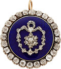Estate Jewelry:Brooches - Pins, Antique Diamond, Enamel, Silver-Topped Gold Pendant-Brooch. ...