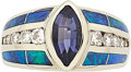 Estate Jewelry:Rings, Tanzanite, Diamond, Black Opal, White Gold Ring. ...