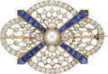 Estate Jewelry:Brooches - Pins, Antique Diamond, Sapphire, Pearl, Platinum-Topped Gold Brooch. ...