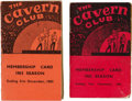 Music Memorabilia:Memorabilia, Cavern Club Membership Cards for 1962 and 1963. ... (Total: 2Items)