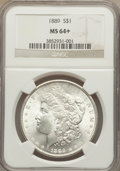 Morgan Dollars: , 1889 $1 MS64+ NGC. NGC Census: (15046/2268). PCGS Population (10653/2131). Mintage: 21,726,812. Numismedia Wsl. Price for p...