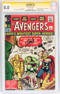 Silver Age (1956-1969):Superhero, The Avengers #1 Signature Series (Marvel, 1963) CGC VF 8.0Off-white pages....