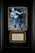 Boxing Collectibles:Autographs, Tommy Burns Signed Index Card Display....