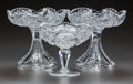 Miscellaneous, THREE CUT-GLASS COMPOTES, circa 1890. 6-1/2 inches high x 7 inchesdiameter (highest) (16.5 x 17.8 cm). A Private Texas C... (Total: 3Items)