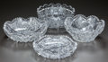 Miscellaneous, FOUR CUT-GLASS BOWLS, circa 1890. Marks to bowl on left:Libbey. 3-1/2 inches high x 9 inches diameter (highest) (8.9x ... (Total: 4 Items)