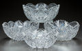 Miscellaneous, FOUR CUT-GLASS BOWLS, circa 1890. 4 inches high x 10 inchesdiameter (widest) (10.2 x 25.4 cm). A Private Texas Collection...(Total: 4 Items)