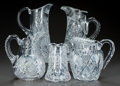 Miscellaneous, FIVE CUT-GLASS PITCHERS, circa 1890. 10-1/2 inches high (highest)(26.7 cm). A Private Texas Collection of American Brilli... (Total:5 Items)