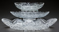 Miscellaneous, THREE CUT-GLASS OVAL SERVING DISHES, circa 1890. 2-1/2 inches highx 18 inches wide (widest) (6.4 x 45.7 cm). A Private Te... (Total:3 Items)