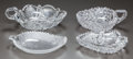 Miscellaneous, FOUR CUT-GLASS HANDLED DISHES, circa 1890. 8 inches wide (widest)(20.3 cm). A Private Texas Collection of American Brilli... (Total:4 Items)
