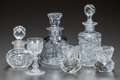 Miscellaneous, THREE CUT-GLASS DECANTERS, TWO TOOTHPICK HOLDERS AND ONE STEMMEDGLASS, circa 1890. 6-1/2 inches (highest) (16.5 cm). A Pr...(Total: 6 Items)