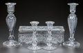 Miscellaneous, TWO PAIR OF CUT-GLASS CANDLESTICKS AND DRESSER BOX, circa 1890. 10inches high (highest) (25.4 cm). A Private Texas Collec... (Total:5 Items)