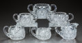 Miscellaneous, THREE CUT-GLASS CREAMER AND SUGAR SETS, circa 1890. 3-1/2 incheshigh (largest) (8.9 cm). A Private Texas Collection of Am...(Total: 6 Items)