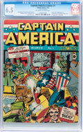 Golden Age (1938-1955):Superhero, Captain America Comics #1 (Timely, 1941) CGC FN+ 6.5 Off-white towhite pages....