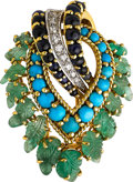 Estate Jewelry:Brooches - Pins, Diamond, Multi-Stone, Gold Brooch, French. ...