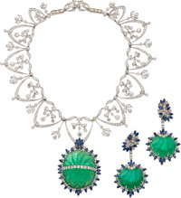 Emerald, Sapphire, Diamond, White Gold Jewelry Suite