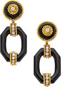 Estate Jewelry:Earrings, Black Onyx, Diamond, Gold Earrings, Van Cleef & Arpels. ...