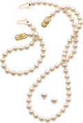 Estate Jewelry:Lots, Cultured Pearl, Gold Jewelry Suite, Mikimoto. ... (Total: 3 Items)
