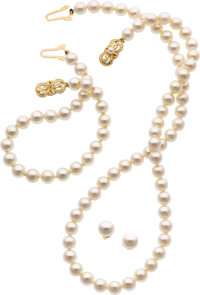 Cultured Pearl, Gold Jewelry Suite, Mikimoto