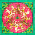 "Luxury Accessories:Accessories, Hermes 90cm Green ""La Ronde des Jockeys,"" by Françoise de laPerriere Silk Scarf. Pristine Condition. 36"" Width x 36""..."