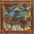 "Luxury Accessories:Accessories, Hermes 90cm Brown & Orange ""Jardins d'Hiver,"" by Annie FaivreSilk Scarf. Excellent Condition. 36"" Width x 36""Length..."