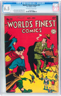 Golden Age (1938-1955):Superhero, World's Finest Comics #31 (DC, 1947) CGC FN+ 6.5 Off-white to white pages....