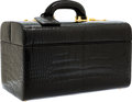 "Luxury Accessories:Travel/Trunks, Fendi Black Crocodile Train Case. Very Good Condition.14"" Width x 9"" Height x 9"" Depth. CITES complianceapplie..."