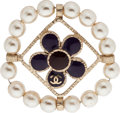 "Luxury Accessories:Accessories, Chanel Violet & Burgundy Enamel and Pearl Brooch. Excellent Condition. 1.5"" Width x 1.5"" Length. ..."