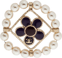 """Chanel Violet & Burgundy Enamel and Pearl Brooch Excellent Condition 1.5"""" Width x 1.5"""" Length"""