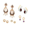 Estate Jewelry:Lots, Opal, Garnet, Amethyst, Cultured Pearl, Enamel, Gold, Sterling Silver Earrings. ... (Total: 5 Items)