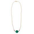 Estate Jewelry:Necklaces, Turquoise, Freshwater Cultured Pearl, Ruby Necklace. ...