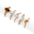Estate Jewelry:Rings, Diamond, Garnet, Citrine, White Gold, Gold Rings. ... (Total: 5 Items)