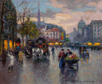 EDOUARD-LÉON CORTÈS (French, 1882-1969) Place Saint-Michel Oil on canvas 18 x 21-1/4 inches (45.7