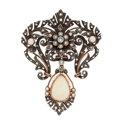 Estate Jewelry:Brooches - Pins, Opal, Diamond, Seed Pearl, Silver-Topped Gold Pendant. ...