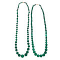 Estate Jewelry:Necklaces, Malachite Bead Necklaces. ... (Total: 2 Items)