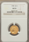 Indian Quarter Eagles: , 1908 $2 1/2 AU53 NGC. NGC Census: (45/9208). PCGS Population (87/6012). Mintage: 564,800. Numismedia Wsl. Price for problem...