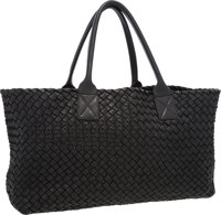 Bottega Veneta Limited Edition Black Intrecciato Nappa Leather Cabat Bag Very Good to Excellent Condition <