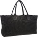 "Bottega Veneta Limited Edition Black Intrecciato Nappa Leather Cabat Bag Very Good to Excellent Condition 16.5"" Wid..."