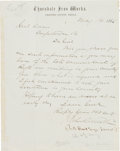 """Autographs:Military Figures, Union General John R. Brooke Autograph Letter Signed. 7.75"""" x 9.75"""", on Thorndale Iron Works letterhead, Chester County [Pen..."""